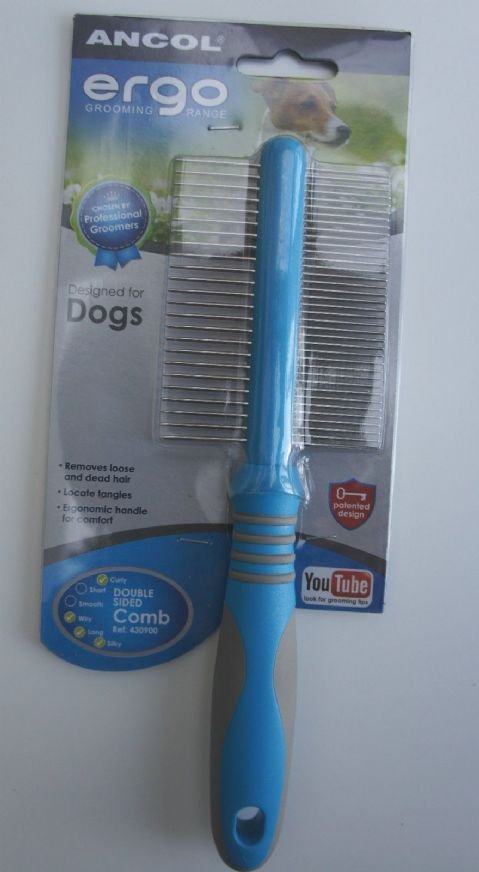 ANCOL ERGO DOUBLE SIDED DOG COMB ERGONOMIC UNIVERSAL GROOMING COMB FOR ALL DOGS